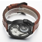 Oulm oversize Case Leather Strap Montre Quartz Homme - Blanc + Marron