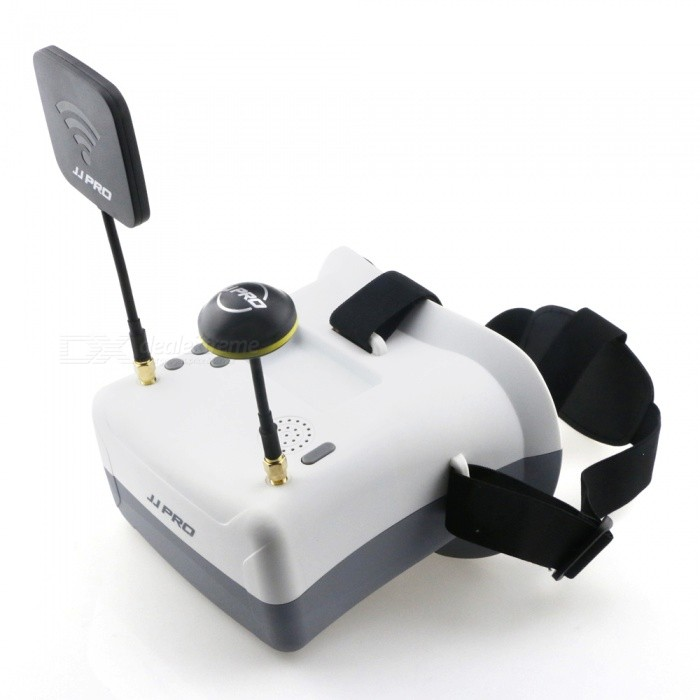 JJRC JJPRO-F02 5.8G FPV Head-mounted Display Goggles - White + BlackOther Accessories for R/C Toys<br>Form  ColorWhite + Grey + Multi-ColoredModelJJPRO-F02MaterialABSQuantity1 DX.PCM.Model.AttributeModel.UnitCompatible ModelH8D, H11D, H6DCertificationCEPacking List1 x JJPRO F02 FPV Goggles1 x Mushroom Antenna1 x Flat Antenna1 x AV Cable1 x Power cable1 x English Manual<br>
