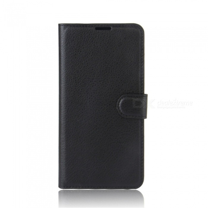 PU Leather Wallet Case w/ Stand, Card Slots for Xiaomi 6 - Black