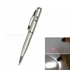AT-15 4-in-1 Multifunction Stylus Pen w/ Laser / LED Light - Silver