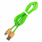 Micro USB Double Candy Line / Mobile Fast Charge Cable - Grass Green