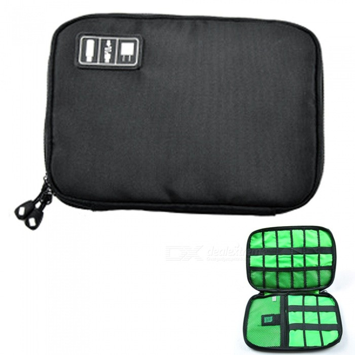 KICCY Portable Nylon Digital Data Lines Storage Bag for Travel - BlackBags &amp; Pouches<br>Form  ColorBlackQuantity1 pieceMaterialNylonCompatible ModelsOthers,UniversalPacking List1 x Storage Bag<br>