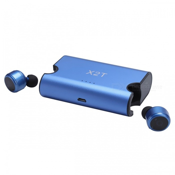 X2T Mini Invisible Bluetooth V4.2 Stereo Earphone w/ Charger - BlueHeadphones<br>Form  ColorBlue + BlackBrandOthers,N/AMaterialABSQuantity1 DX.PCM.Model.AttributeModel.UnitConnectionBluetoothBluetooth VersionBluetooth V4.2Operating Range10mHeadphone StyleEarbudWaterproof LevelIPX0 (Not Protected)Applicable ProductsUniversalHeadphone FeaturesLightweight,Portable,Invisible StyleSupport Memory CardNoSupport Apt-XYesBuilt-in Battery Capacity 65 DX.PCM.Model.AttributeModel.UnitStandby Time120 DX.PCM.Model.AttributeModel.UnitTalk Time3-4 DX.PCM.Model.AttributeModel.UnitMusic Play Time3-4 DX.PCM.Model.AttributeModel.UnitPacking List1 x X2T Bluetooth Headphone1 x Charging Box 1 x Micro USB Cable 1 x Manual<br>