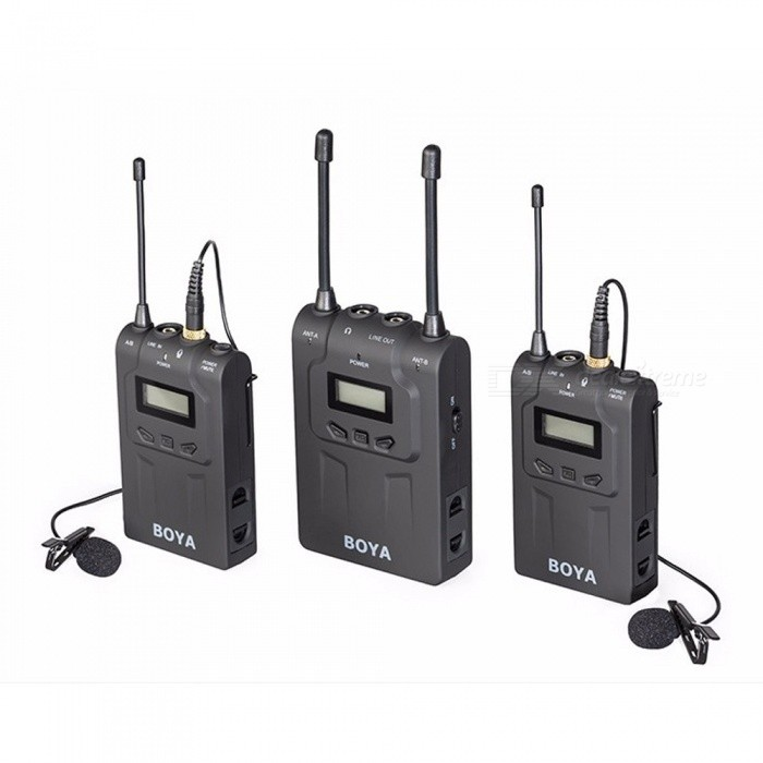 boya by wm8 uhf dual channel wireless lavalier mic system black free shipping dealextreme. Black Bedroom Furniture Sets. Home Design Ideas
