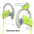 New LE ZHONG DA CX-2 Smart Bluetooth Earphone w/ Light - Green + Grey