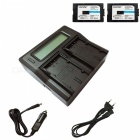 Ismartdigi D28S Battery x 2 + LCD Dual Charger with Car Charge - Black