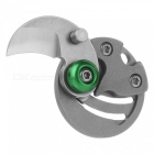 FURA 3CR13 Stainless Steel + D2 Tool Steel Coin Knife - Grey + Green