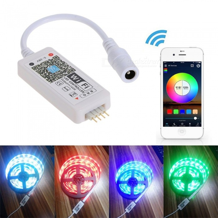 DC5-28V Mini 3 Channels RGB Wi-Fi Smart Controller Dimmer - WhiteHome Smart Devices<br>Form  ColorWhiteQuantity1 DX.PCM.Model.AttributeModel.UnitMaterialABSRate Voltage4A * 3 CHPacking List1 x Wireless APP RGB Smart Controller 1 x User Manual (English)<br>