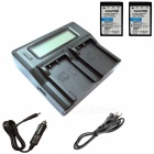 Ismartdigi BLS5 Battery x2 + LCD Dual Charger with Car Charge - Black