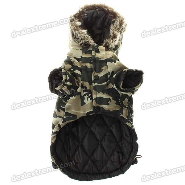 Cute Dog Apparel Pet Camouflage 2-Leg Hole Clothing with Hat - XL (Random Style)