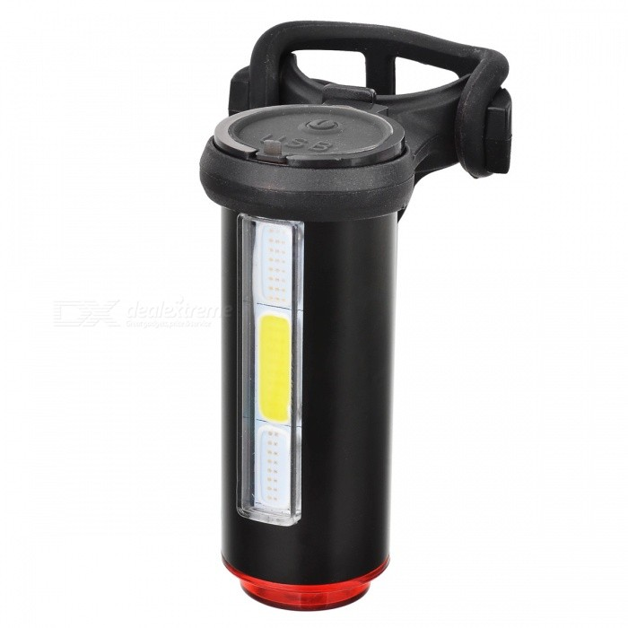 USB Rechargeable 3 Colors Light Bike Warning Lamp - Black