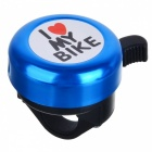 I Love My Bike Pattern Aluminum Bike Bell - Black + Blue