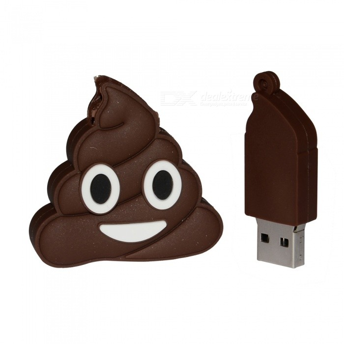 Emoji Pila De Estilo Poo USB 2.0 Flash Drive 32 GB - Marrón