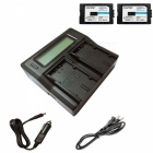 Ismartdigi D28S Battery x 2 + LCD Dual Charger w/ Car Charger - Black