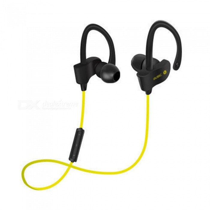 Wireless Bluetooth Stereo In-Ear Bass Earphone w/ Mic - BlackHeadphones<br>Form  ColorFluorescent Green + BlackBrandOthers,NoMaterialABSQuantity1 DX.PCM.Model.AttributeModel.UnitConnectionBluetoothBluetooth VersionBluetooth V4.1Operating Range10mConnects Two Phones SimultaneouslyYesHeadphone StyleBilateral,In-EarWaterproof LevelIPX0 (Not Protected)Applicable ProductsUniversalHeadphone FeaturesPhone Control,Volume Control,With Microphone,Lightweight,Portable,For Sports &amp; ExerciseSupport Memory CardNoSupport Apt-XNoStandby Time200 DX.PCM.Model.AttributeModel.UnitTalk Time6 DX.PCM.Model.AttributeModel.UnitMusic Play Time4~5 DX.PCM.Model.AttributeModel.UnitPacking List1 x  Bluetooth headphone                     1 x USB Cable<br>