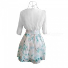 2-Piece Fresh Style Half-Sleeved Floral Skirt Suit (XL)