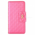 Embossed Bow Protective TPU + PU Case for IPHONE 7 PLUS - Deep Pink