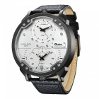 Men's Casual Sport Watch, Two Movement Oversize Case, 30m Waterproof, Leather Strap, Quartz Watch