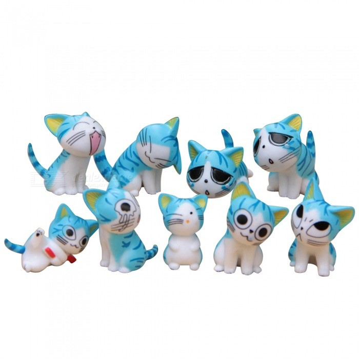 DIY Lovely Mini Cats Dolls for Gardening Landscaping (9Pcs) - Blue