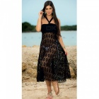 Dual Wear Hollow Sunscreen Bikini Blouse Strapless Dress - Black