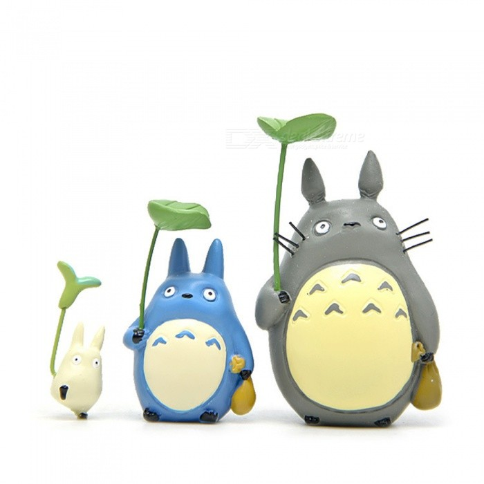 Handmade DIY Miyazaki Jun Totoro Cat Gardening Scene Toys (3pcs)Garden Gadgets<br>Form  ColorGrey + MulticolorMaterialSynthetic resinQuantity3 DX.PCM.Model.AttributeModel.UnitPacking List3 x landscape dolls<br>