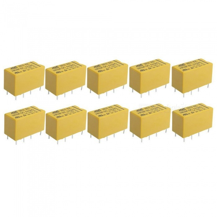 HK19F DC 5V Coil DPDT 8 Pin PCB General Purpose Power Relays (10 PCS)DIY Parts &amp; Components<br>Form  ColorYellow + BlackModelHK19FQuantity10 piecesMaterialPlasticEnglish Manual / SpecNoCertificationN/APacking List10 x PCB Power Relays<br>