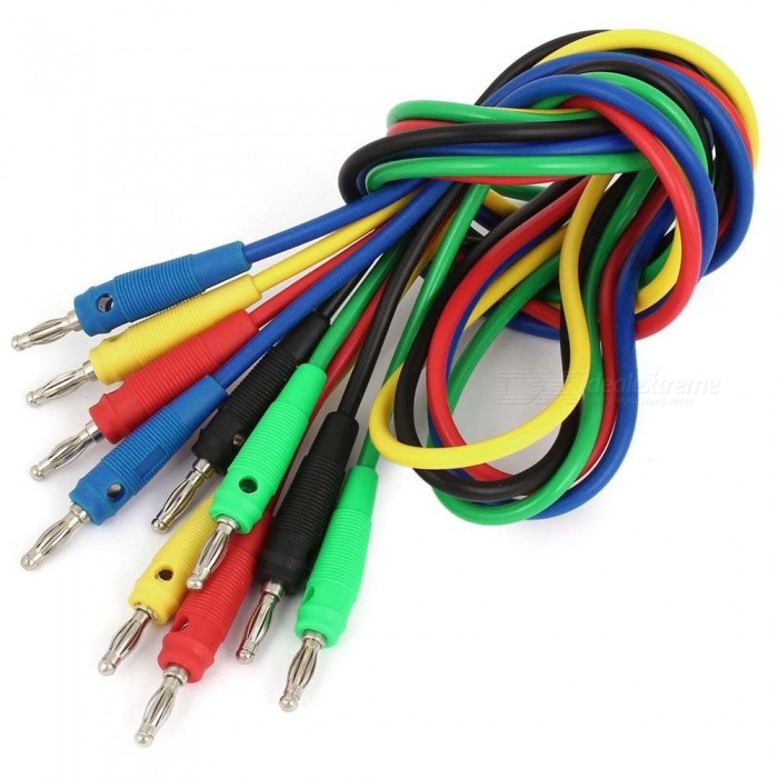 Multimeter 4mm Banana Probe Test Cables - Multicolor (1m / 5Pcs)DIY Parts &amp; Components<br>Form  Color Red, Black,Green,Yellow,BlueQuantity5 DX.PCM.Model.AttributeModel.UnitMaterialMetal + plasticEnglish Manual / SpecNoCertificationNoPacking List5 x Test cables<br>