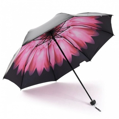 E-SMART Ultraviolet-proof Folding Pocket Sun Umbrella - Black + Pink