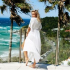 Beach Sunproof Chiffon Stitching Long Dress Skirt - White (M)