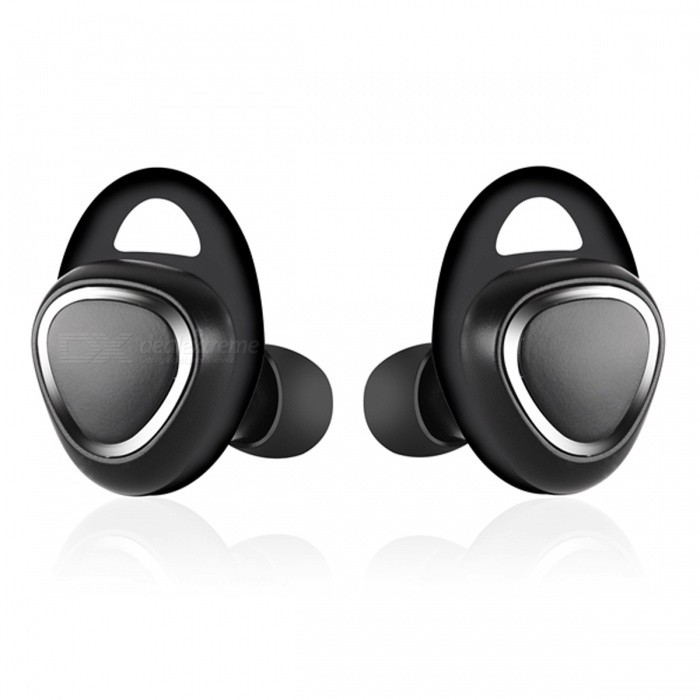 Mini Bluetooth Wireless In-Ear Earbuds for Mobile Phone - BlackHeadphones<br>Form  ColorBlackBrandOthers,N/AMaterialABSQuantity1 DX.PCM.Model.AttributeModel.UnitConnectionBluetoothBluetooth VersionBluetooth V4.1Operating Range10mConnects Two Phones SimultaneouslyYesHeadphone StyleBilateral,In-EarWaterproof LevelIPX0 (Not Protected)Applicable ProductsUniversalHeadphone FeaturesPhone Control,Noise-Canceling,Volume Control,With Microphone,Lightweight,Portable,For Sports &amp; ExerciseSupport Memory CardNoSupport Apt-XYesPacking List1 Pair x Bluetooth Earbud1 x Charger Dock1 x User Manual1 x Charging Cable<br>