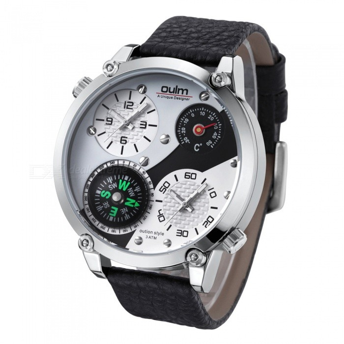 Oulm HP3707 Men's Quartz Watch w/ Leather Strap - White + Silver