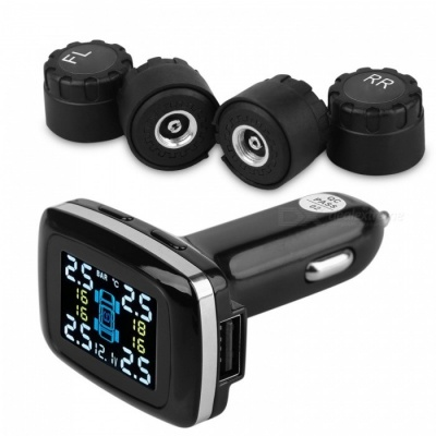 90SMART LCD Display Tire Pressure Monitor System w/ 4 External Sensors