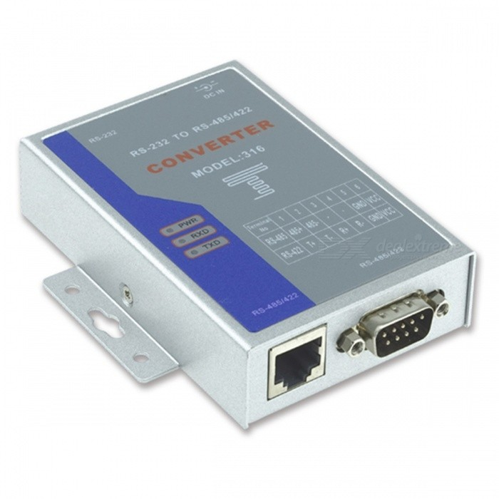 RS232 / RS485 / RS422 Interface ConverterComputer Cable&amp;Adapter<br>Form  ColorDeep Blue + SilverQuantity1 DX.PCM.Model.AttributeModel.UnitShade Of ColorBlueMaterialAluminiumInterfaceOthers,RS232Packing List1 x Converter     1 x Terminal     1 x Power          1 x English manual      1 x Serial port<br>