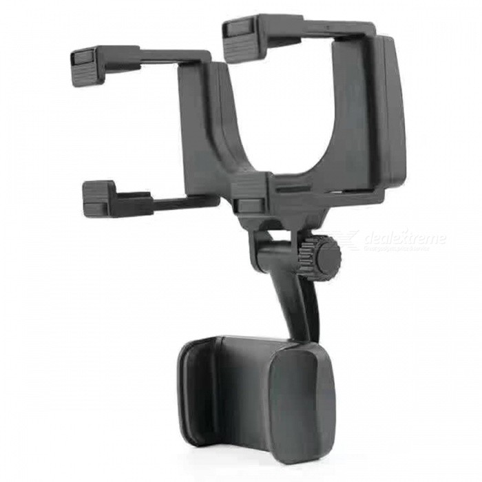 Universal Rearview Mirror Mount Stand Holder for Cell Phone - Black