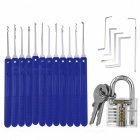 Blue Handle 12 Single Hook + Mini Transparent Practice Lock Unlock Set
