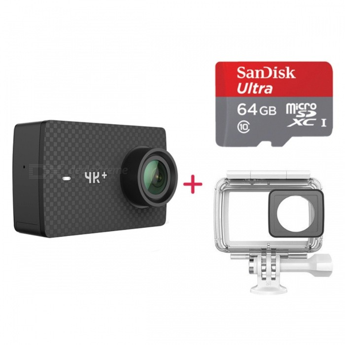 International Edition Xiaomi YI 4K+ Sports Camera Kit w/ 64GB TF CardSport Cameras<br>Form  ColorBlack + Waterproof Case + 64GB TF CardModelYAS.1817Shade Of ColorBlackMaterialPlasticQuantity1 DX.PCM.Model.AttributeModel.UnitImage SensorOthers,IMX377Image Sensor SizeOthers,1/2.3Anti-ShakeYesFocal Distance2.66x5% DX.PCM.Model.AttributeModel.UnitFocusing Range2.66x5%ApertureF2.8Effective PixelsF2.8ImagesGIF,JPG,PNGStill Image Resolution3840 x 2160VideoMP4,Others,H.264Video Resolution4000 x 300Video Frame Rate15,25,30,60,120,Others,60Audio SystemOthers,StereoCycle RecordYesISONoExposure CompensationOthers,-2.0-1.5-1.0-0.50+0.5+1.0+1.5,+2.0Supports Card TypeTFSupports Max. Capacity64 DX.PCM.Model.AttributeModel.UnitOutput InterfaceOthers,USB Type-cLCD ScreenYesScreen Size2.2 DX.PCM.Model.AttributeModel.UnitBattery Measured Capacity 1200 DX.PCM.Model.AttributeModel.UnitNominal Capacity1200 DX.PCM.Model.AttributeModel.UnitBattery TypeLi-ion batteryBattery included or notYesBattery Quantity1 DX.PCM.Model.AttributeModel.UnitVoltage3.8 DX.PCM.Model.AttributeModel.UnitWater ResistantNOSupported LanguagesEnglishPacking List1 x Yi 4k+ camera1 x Battery (1200mAh)1 x Data cable (1m)1 x Description (English) English system1 x Waterproof case1 x 64GB memory TF card<br>