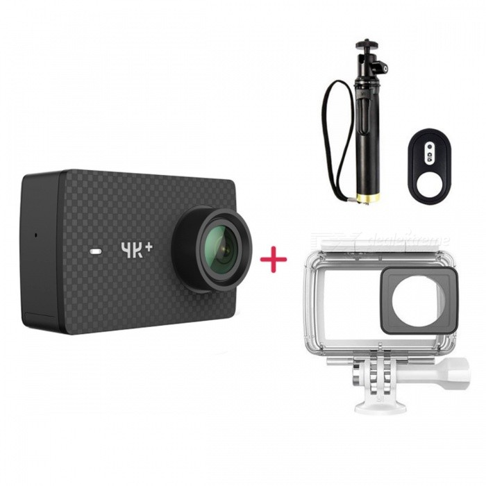 International Edition Xiaomi YI 4K+ Sports Camera Kit w/ Selfie StickSport Cameras<br>Form  ColorBlack + Waterproof Case + YI Selfie MonopodModelYAS.1817Shade Of ColorBlackMaterialPlasticQuantity1 setImage SensorOthers,IMX377Image Sensor SizeOthers,1/2.3Anti-ShakeYesFocal Distance2.66x5% mmFocusing Range2.66x5%ApertureF2.8Effective PixelsF2.8ImagesGIF,JPG,PNGStill Image Resolution3840 x 2160VideoMP4,Others,H.264Video Resolution4000 x 300Video Frame Rate15,25,30,60,120,Others,60Audio SystemOthers,StereoCycle RecordYesISONoExposure CompensationOthers,-2.0-1.5-1.0-0.50+0.5+1.0+1.5,+2.0Supports Card TypeTFSupports Max. Capacity64 GBOutput InterfaceOthers,USB Type-CLCD ScreenYesScreen Size2.2 inchesBattery Measured Capacity 1400 mAhNominal Capacity1400 mAhBattery TypeLi-ion batteryBattery included or notYesBattery Quantity1 setVoltage3.8 VWater ResistantNOSupported LanguagesEnglishPacking List1 x Yi 4k+ camera1 x Battery (1400mAh)1 x Data cable (1m)1 x Description (English) English system1 x Waterproof case1 x Selfie Monopod w/ Bluetooth Remote Control<br>