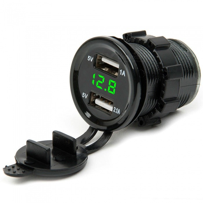 Eastor 3.1A Motorcycle Car Dual USB Charger w/ Green Light Voltmeter