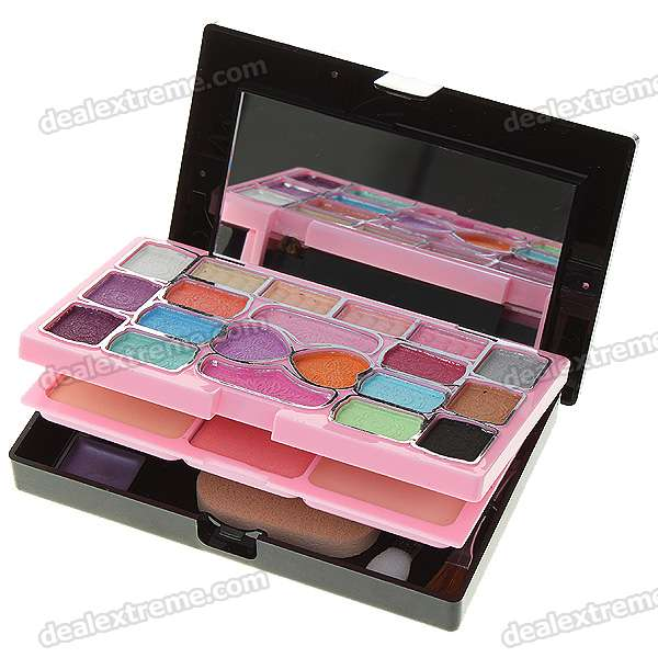 Professional Eye Shadow + Face Powder + Rouge + Mirror Case Makeup Kit