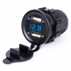 Waterproof 3.1A Motorcycle Car Dual USB Charger w/ Blue Voltmeter
