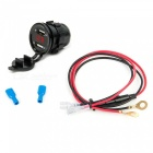 Eastor Motorcycle USB Charger 3.1A w/ Red Light, Voltmeter, 60cm Cable