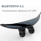 Magnetic Adsorption Bluetooth 4.1 Wireless Earphone - Blue + Black