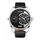 CAGARNY 6813 Fashion Leather Quartz Analog Wrist Watch - Silver +Black