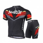NUCKILY Summer Cycling Short-Sleeved Suit for Men, Women - Black (L)