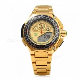 Men's Luxury Stainless Steel Analog + Digital Quartz Watch - Golden