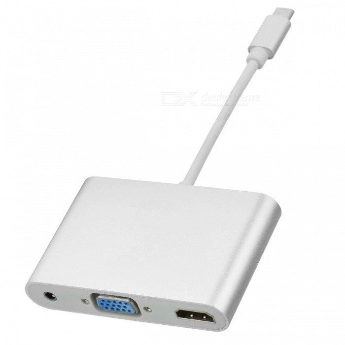 CY UC-016 USB 3.1 Type C to HDMI Digital AV &amp; VGA &amp; 3.5mm AdapterLaptop/Tablet Cable&amp;Adapters<br>Form  ColorSilverModelUC-016Quantity1 DX.PCM.Model.AttributeModel.UnitShade Of ColorSilverMaterialPVCInterfaceOthers,USB 3.1 Type CPacking List1 x Adapter<br>