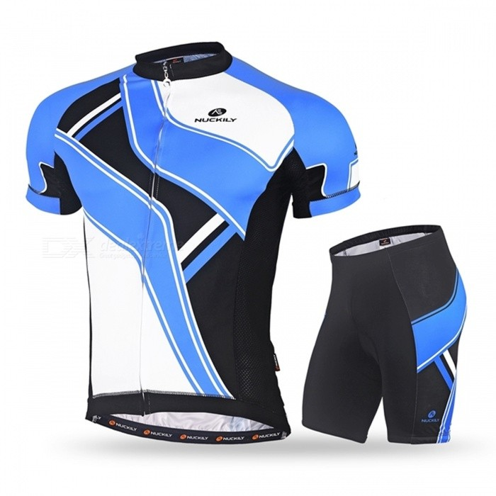 NUCKILY Summer Outdoor Cycling Short-Sleeved Men's Suits - Blue (XL)