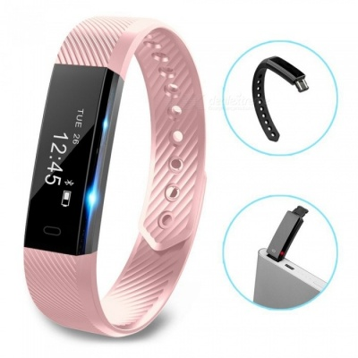 ID115 Touch Screen Fitness Tracker Watch Smart Bracelet - Pink