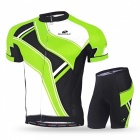 NUCKILY Summer Cycling Short-Sleeved Men's Suits - Green (M)