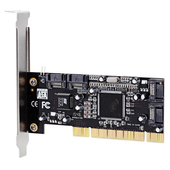 Silicon Image 4-Port SATA PCI Expansion Card контроллер pci e sata ide 2 1 port sata raid jmb363 bulk